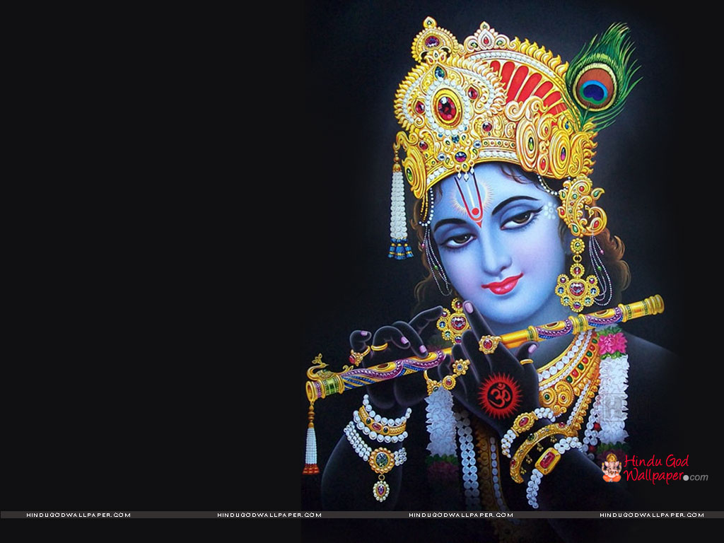 Lord Krishna Black Wallpaper for Desktop