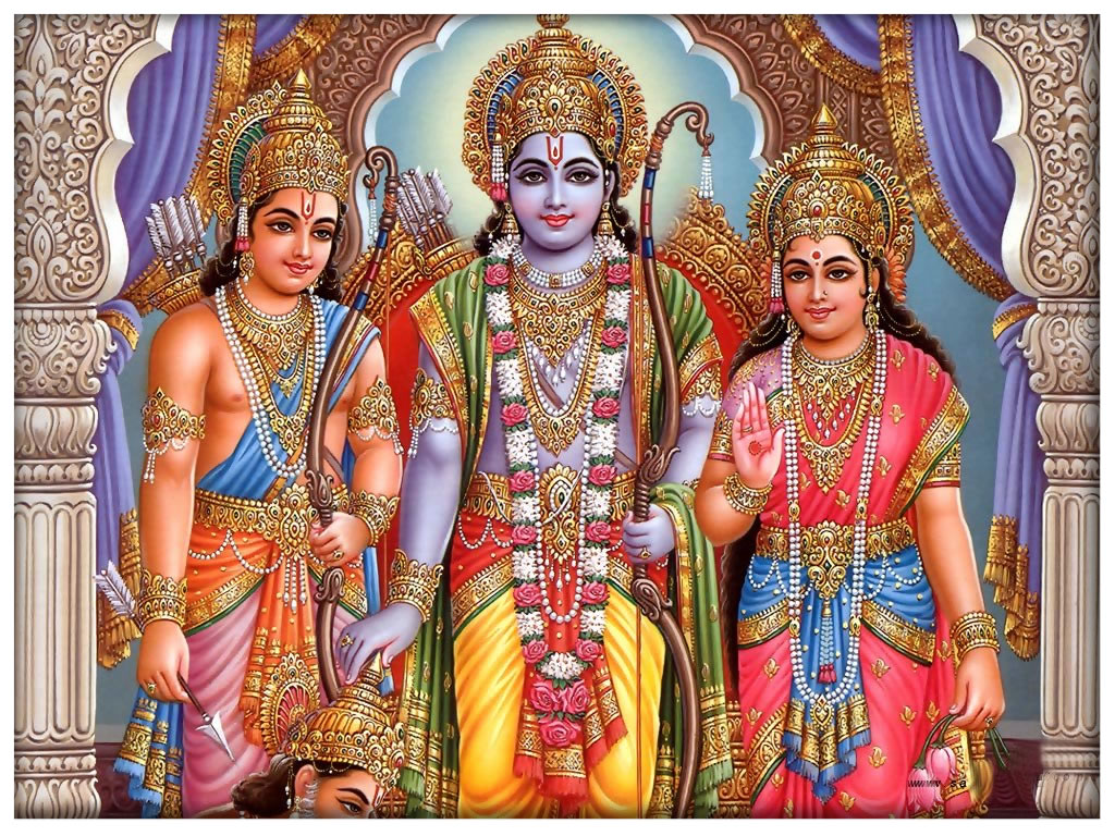 Lord Rama,Flanked by Sita and Lakshmana, with Hanumanji at the Feet.Image.jpg.