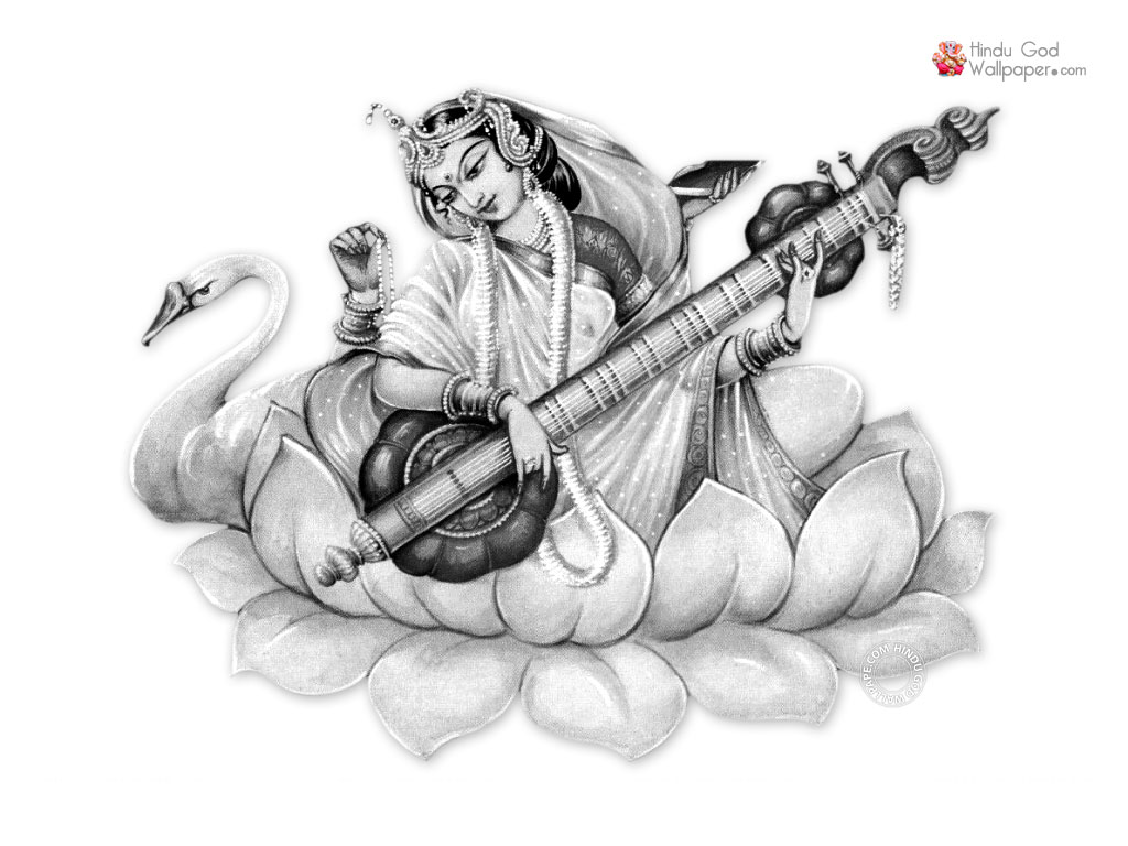 Saraswati Black White