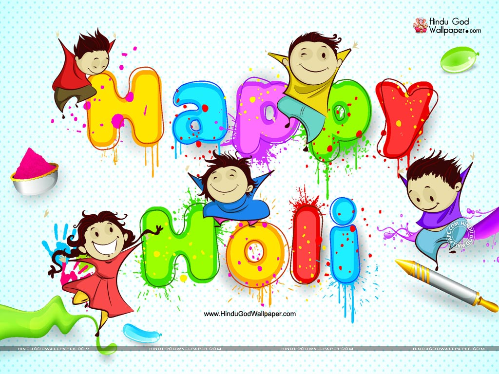 Happy Holi Cartoon Wallpapers Images Free Download