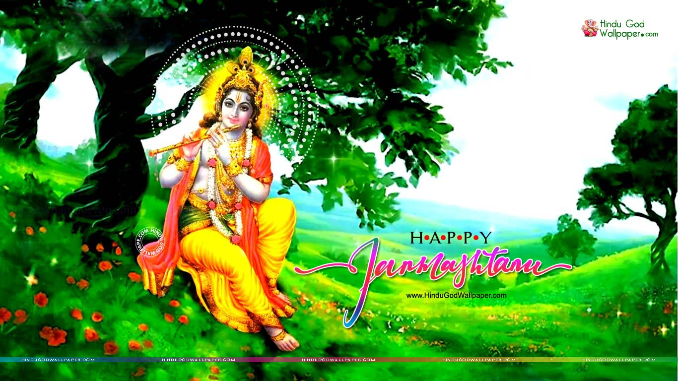 Shri Krishna Janmashtami Green Wallpapers Free Download