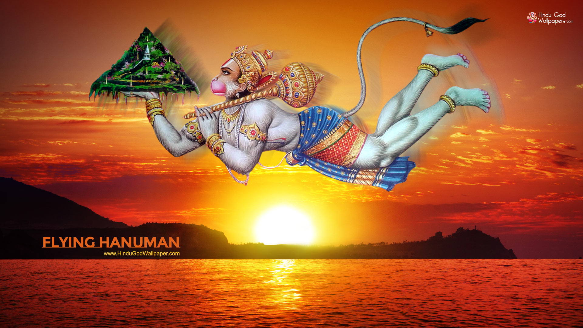 1080p Flying Hanuman Hd Wallpaper 1920x1080 Free Download